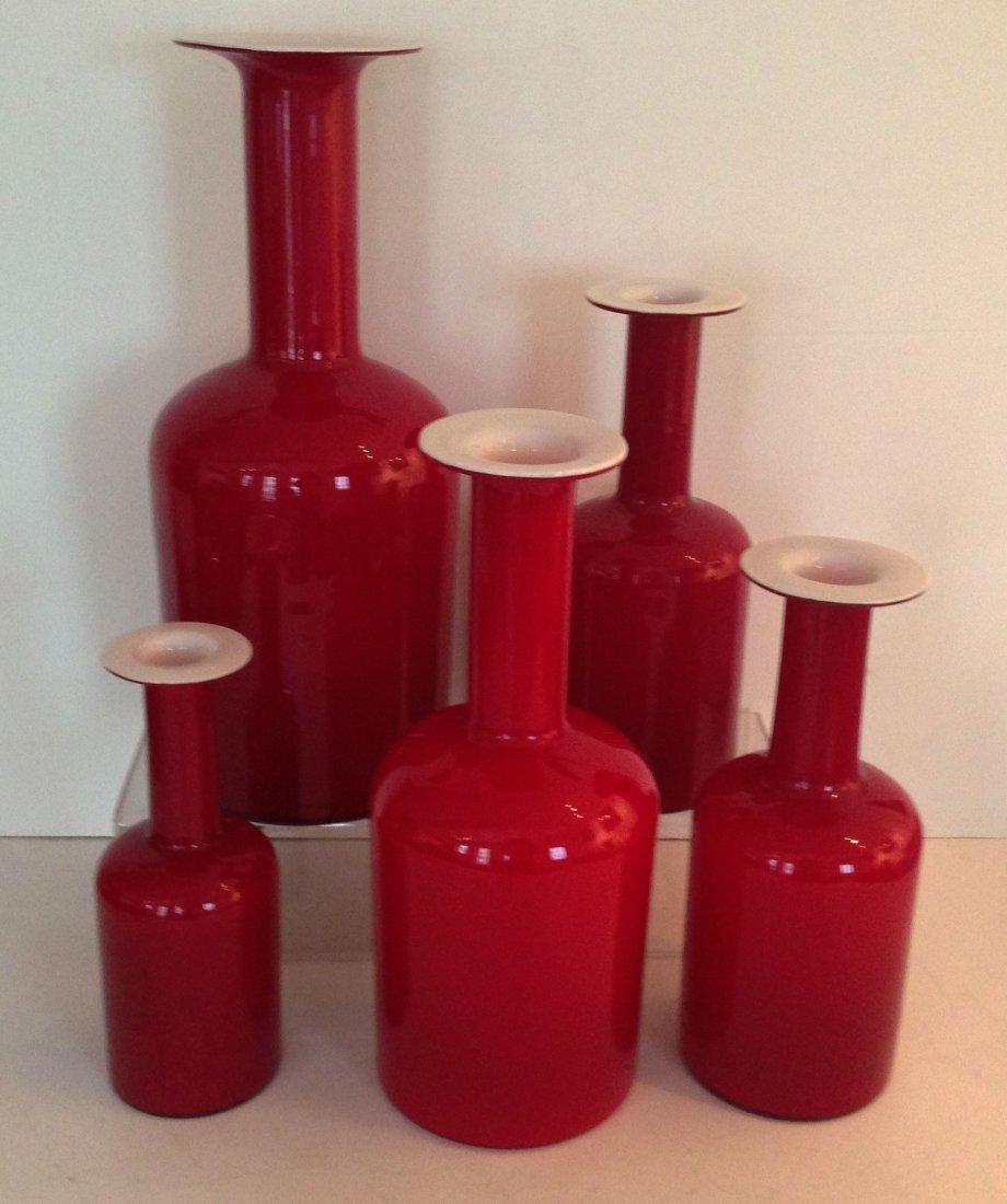 Five Otto Brauer Gulvvase Holmegaard Vases