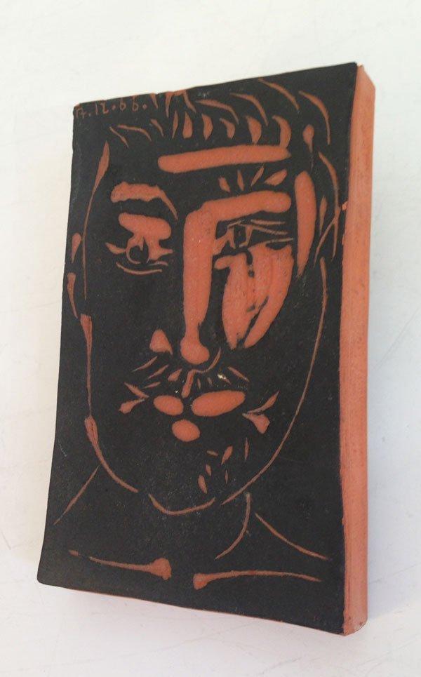 Picasso Terracotta Tile Portrait of a Gentleman