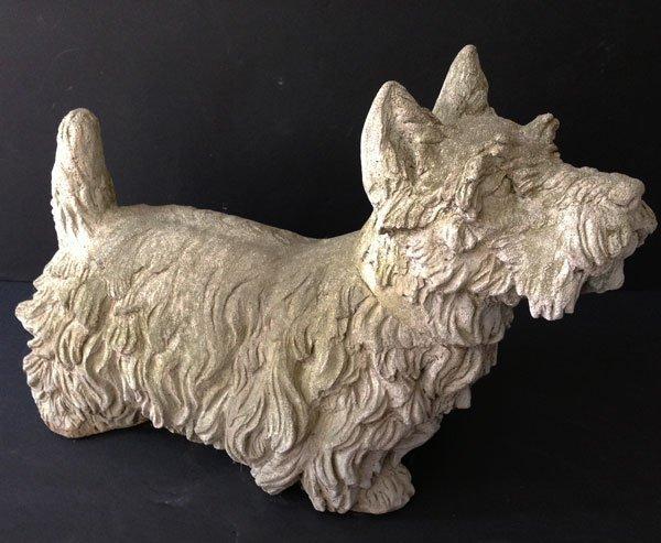 Vintage Life Size Cement Scottie Dog Garden Sculpture