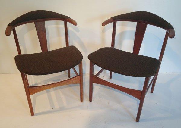 Pr Of Unusual Hans Wegner Mid Century Chairs