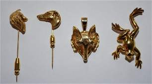 Collection of 14k Gold Animal Pins & a Pendant
