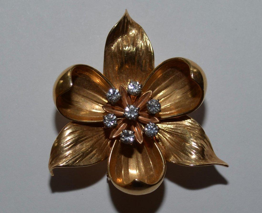 Summery 14k Gold & Diamond Dogwood Flower Brooch