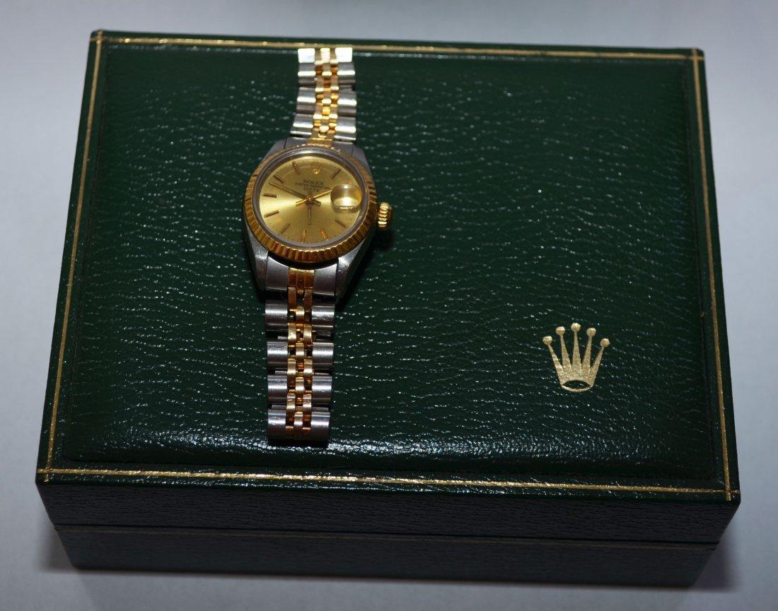Ladies 2-Tone 14k Gold/Stainless Steel Rolex Date Watch