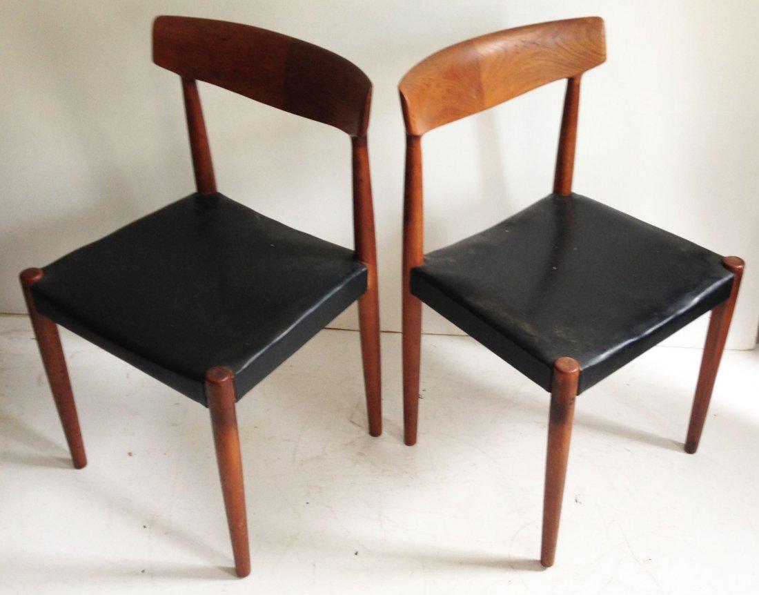 4 Danish Modern Teak & Leather Chairs