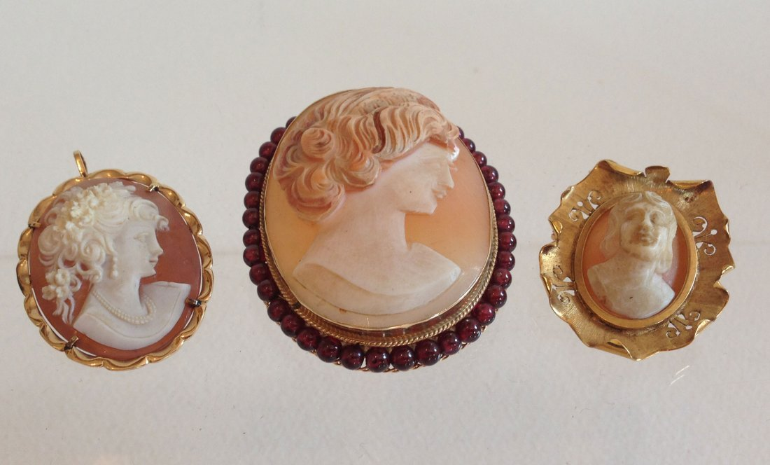 Collection of 3 Vintage 18k/14k Gold Cameos