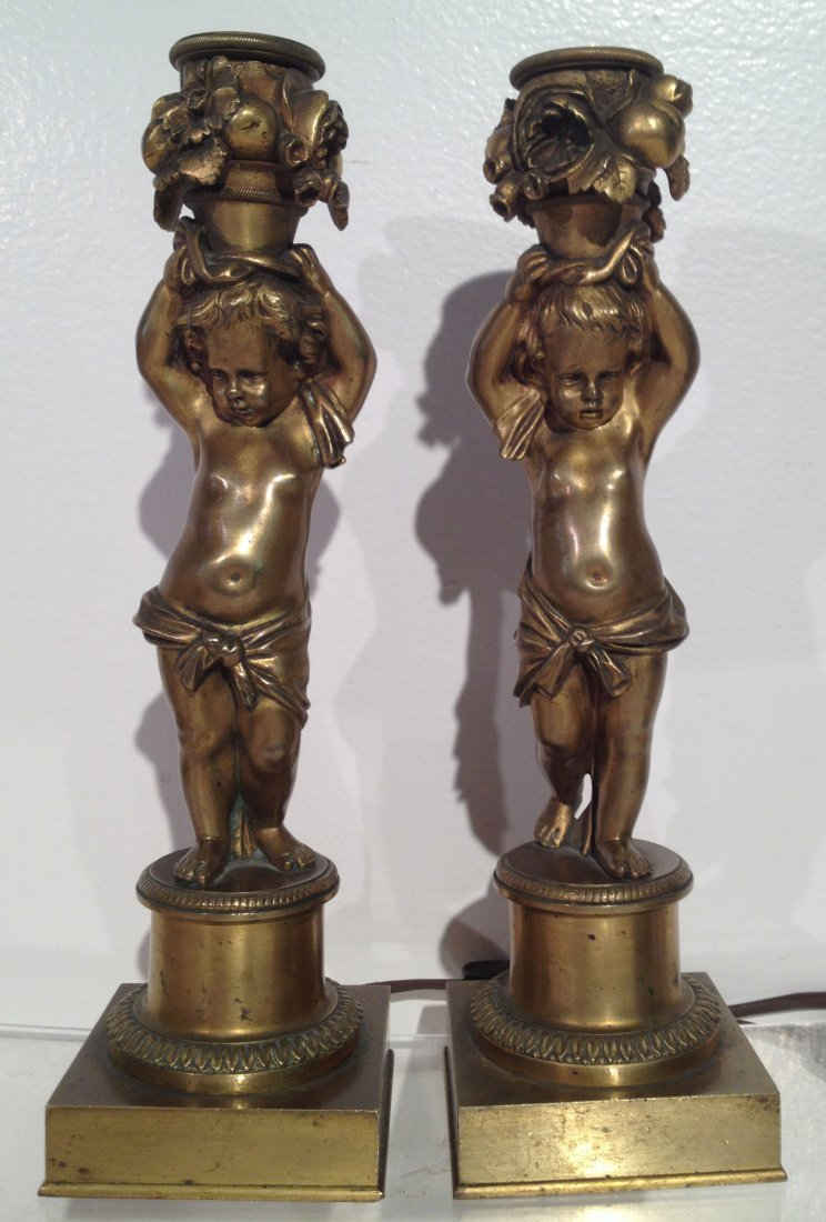 Pr Of Bronze Barbedienne Figural Lamps