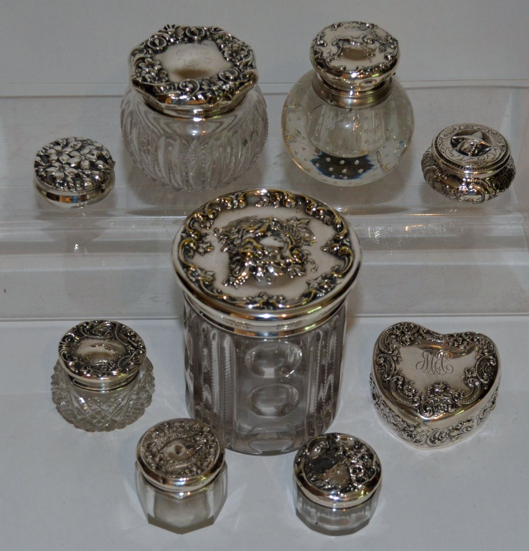 Collection of Sterling Silver Vanity Jars