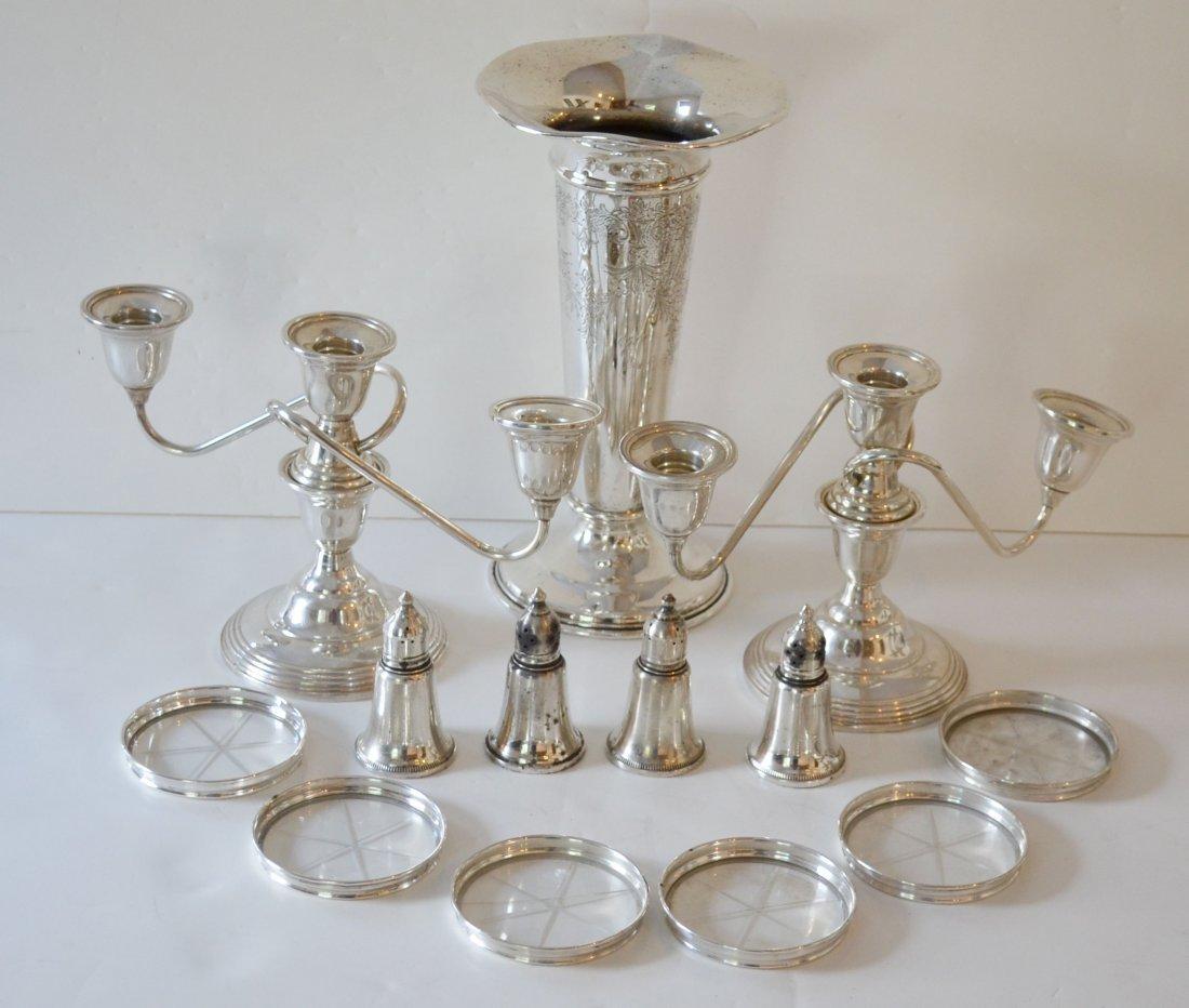 Sterling Silver Candlesticks, Vase, 4 Salts & Coasters