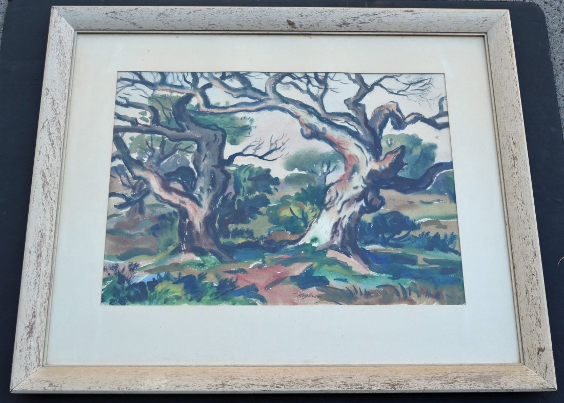Charles B. Rogers Japanese Oak Watercolor Painting