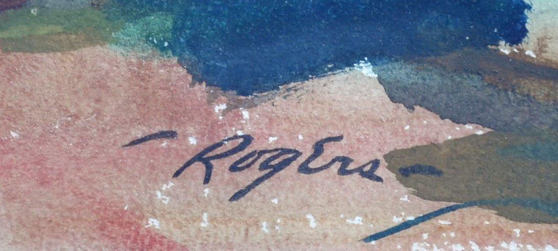 Charles B. Rogers Japanese Oak Watercolor Painting - 2