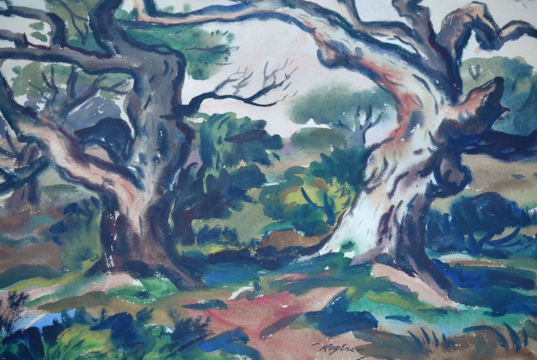 Charles B. Rogers Japanese Oak Watercolor Painting - 3