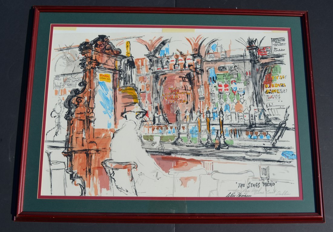 Large Framed Leroy Neiman The Stags Head Print