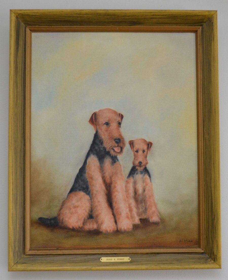 Signed O/C Painting of 2 Airedale Dogs