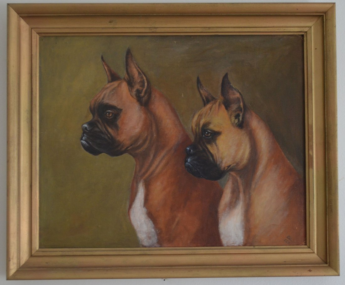 Handsome Signed O/B Painting of Boxer Dogs