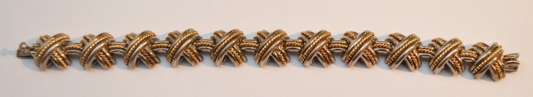 Tiffany & Co Sterling Silver & 18K Gold Bracelet