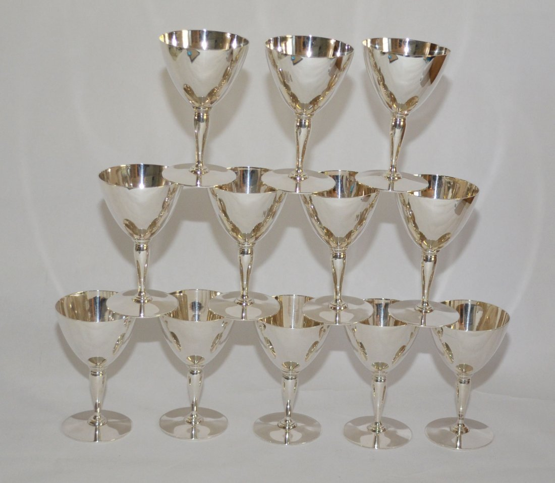 12 Tiffany & Co.  Sterling Silver Wine Goblets