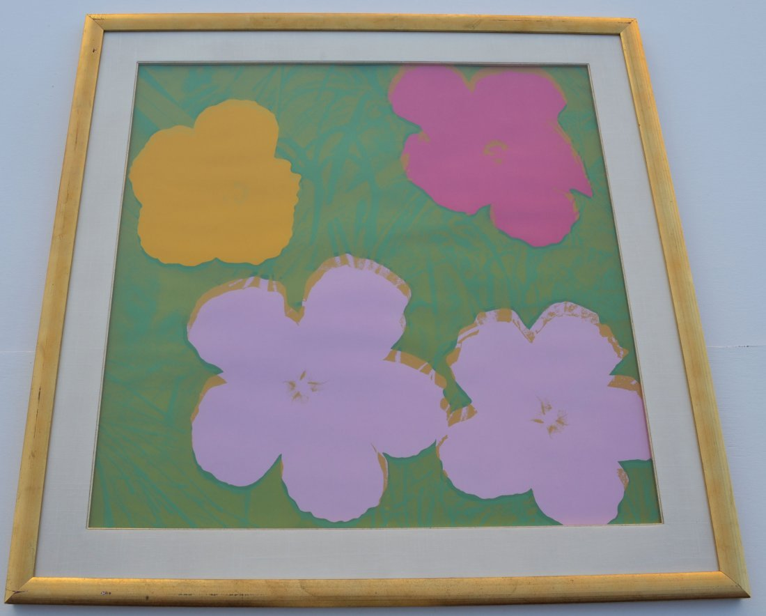 """Rare Andy Warhol Signed Artist Proof of """"Flowers"""""""