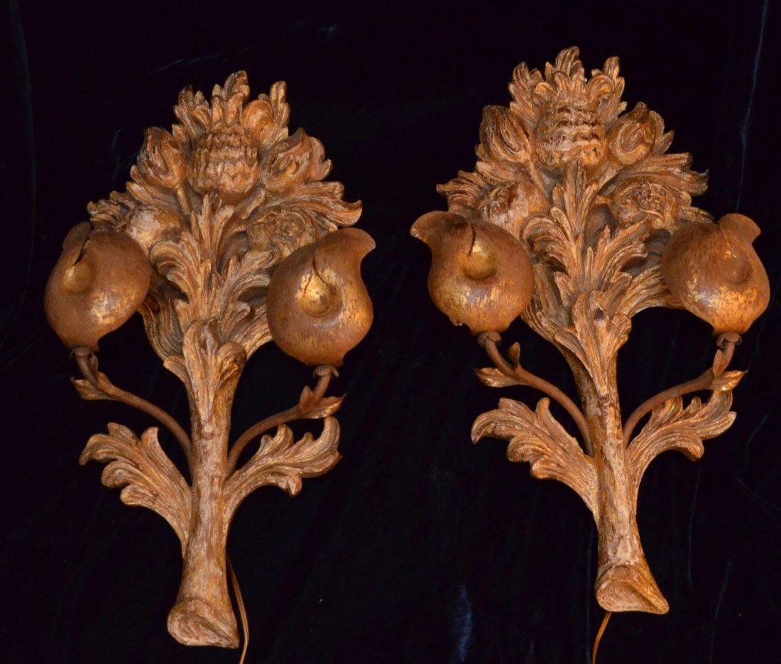Fabulous Pair Gilt Wood Fruit Wall Sconces