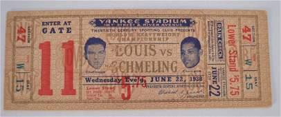 Joe Louis Vs Max Schmeling 1938 Fight Ticket