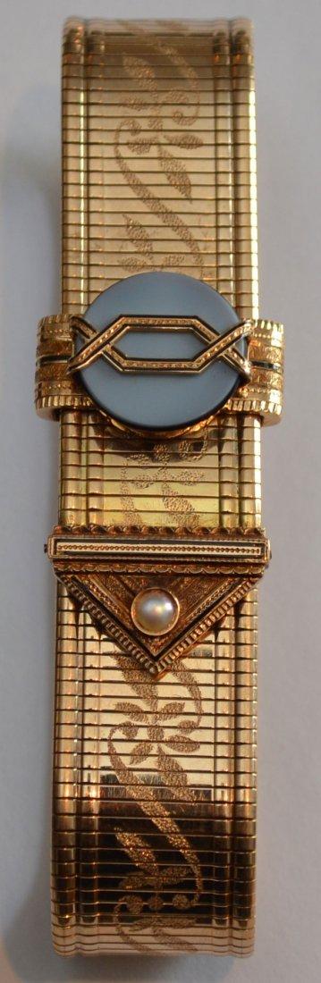 14k Gold Deco Style Slide Bracelet w Banded Agate