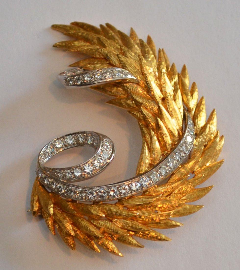 18k Gold & Diamond Feather Brooch