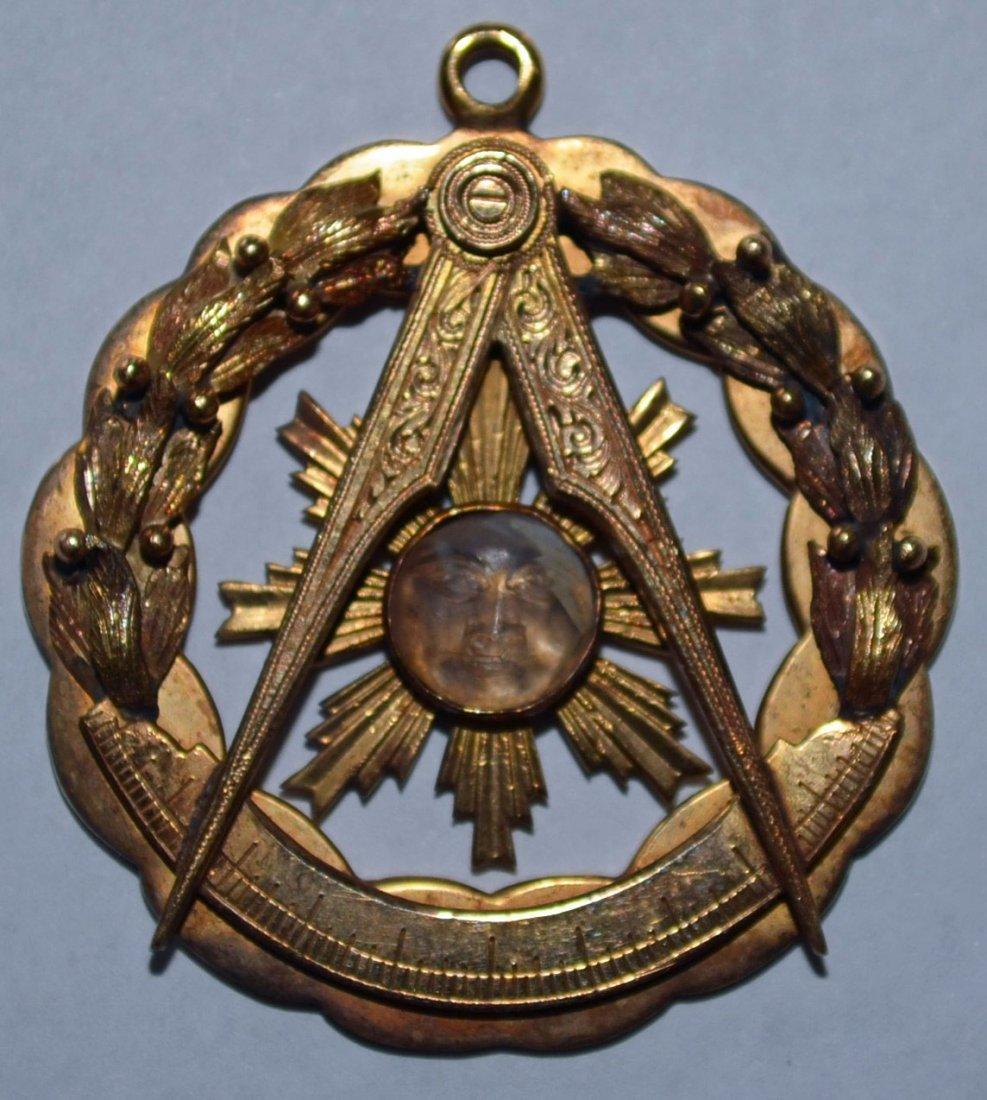 14K Gold Masonic Pendant w Carved Moonstone Face
