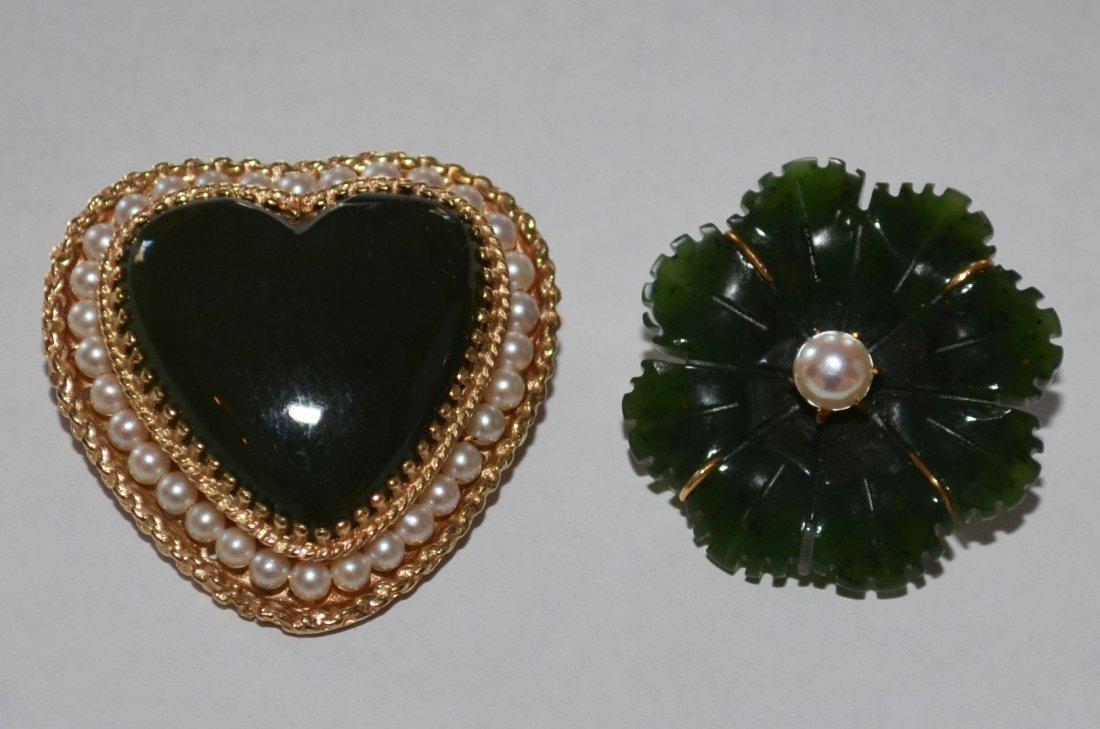 2 Jade & Pearl Pins in 14K Gold