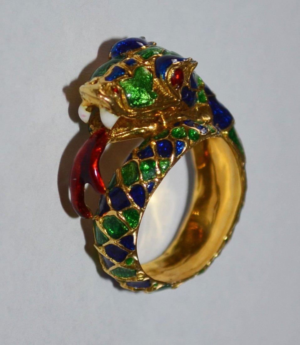 18k Gold & Enamel Snake Ring