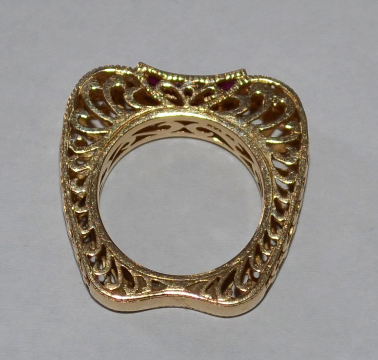 14k Gold w Invisible Set Rubies, Filligree Apple Shaped