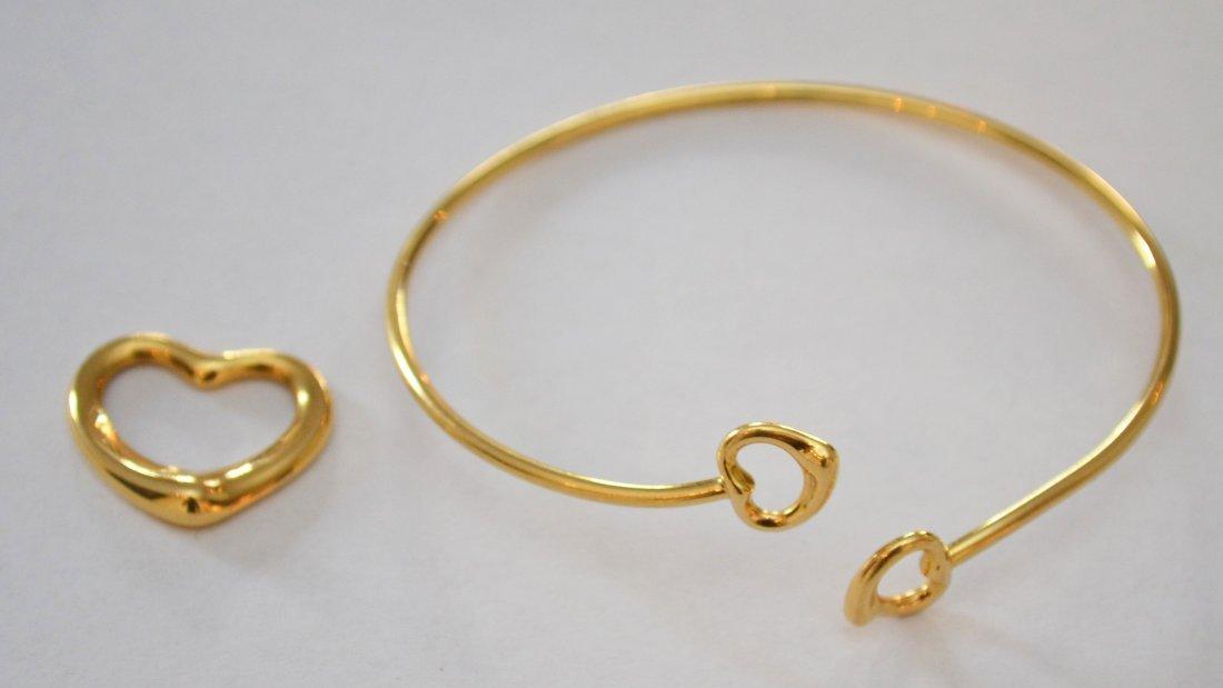 Tiffany & Co Elsa Peretti 18k Gold Pendant & Bracelet