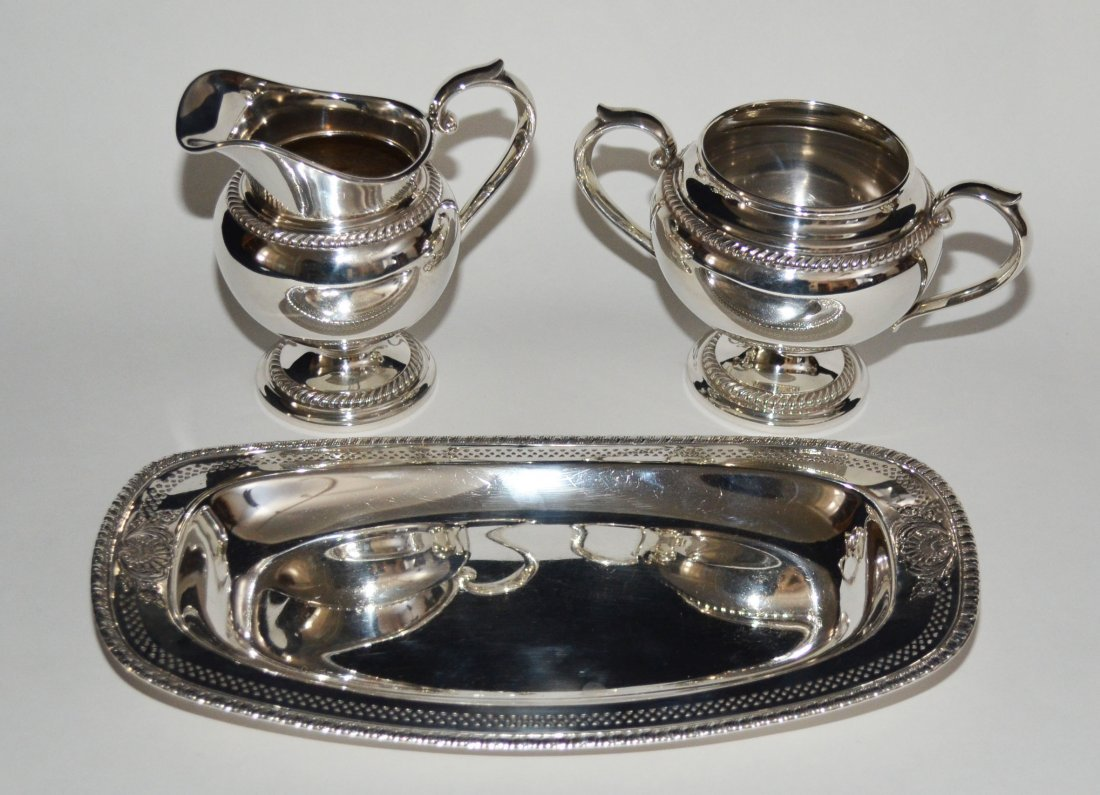 Gorham & Wallace Sterling Tray, Creamer & Sugar