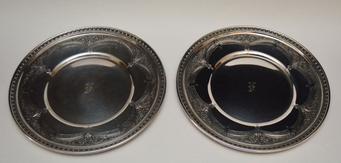 Pr of Sterling Silver Art Nouveau Chargers
