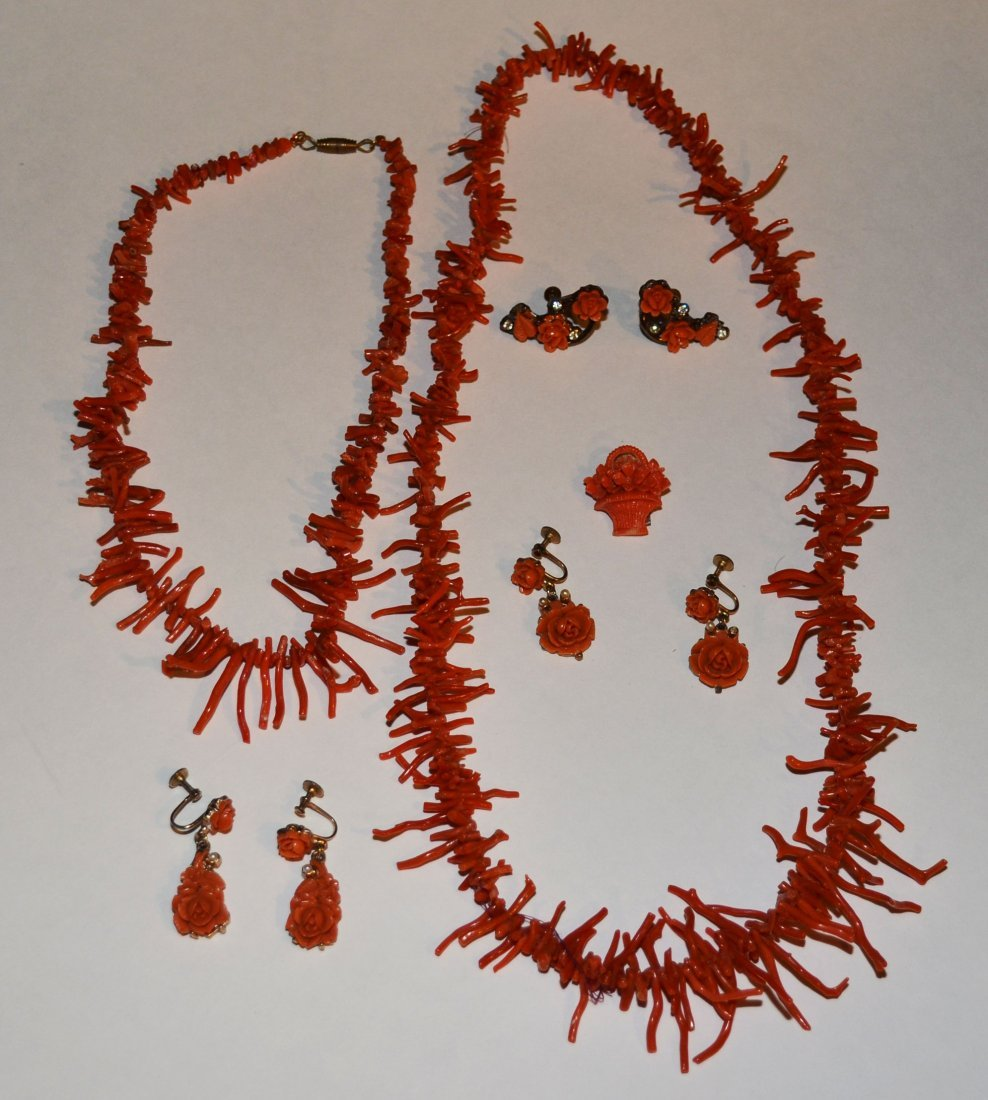 Collection of Coral Jewelry inc Necklace, Earrings