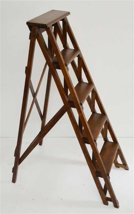 Vintage Wooden Folding Library Step Ladder