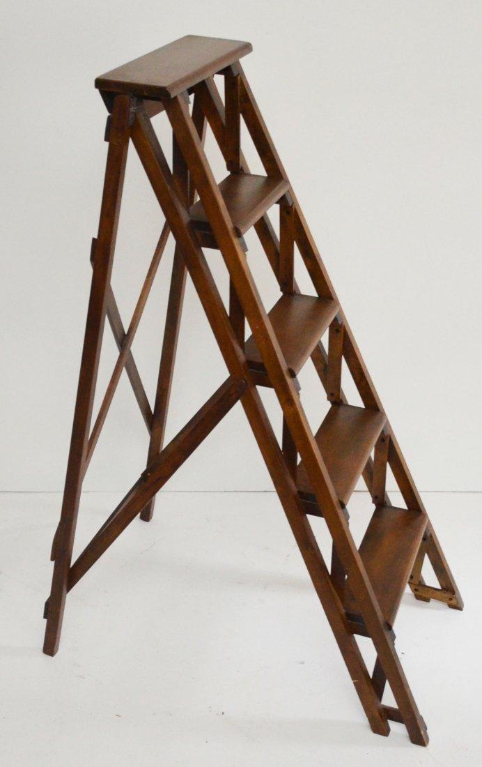 Vintage Wooden Folding Library Step Ladder