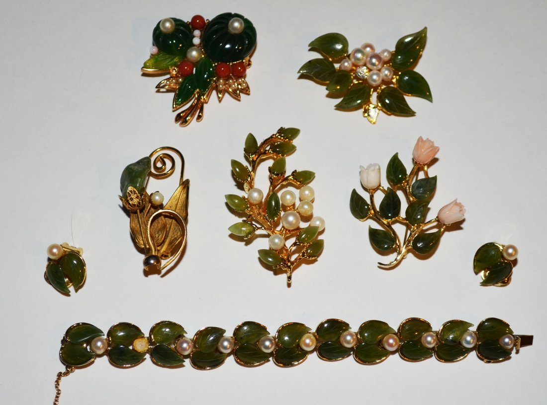 Lot of Designer Jade Costume Jewelry