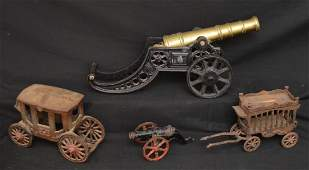 Vintage Cast Iron Toys Including a Canon