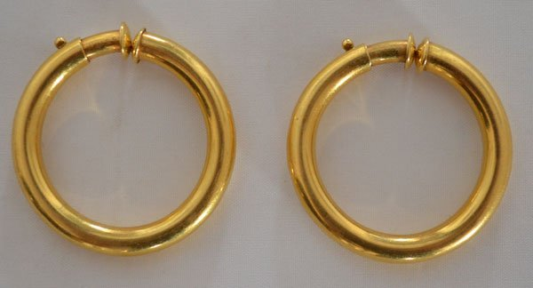 Vintage 18k Gold Cartier Hoop Earrings - 2