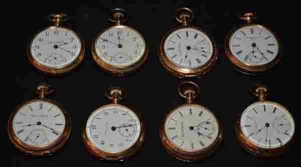 8 Larger Gold Filled Pocket Watches