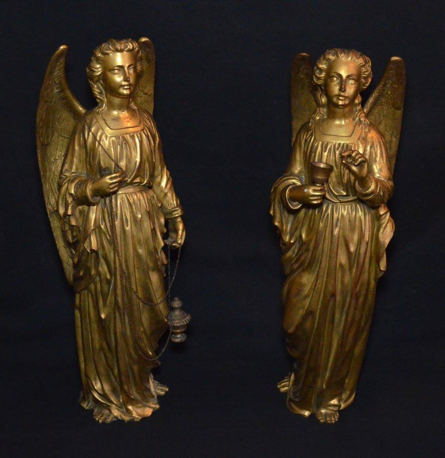 Divine Pair of Gilt D'ore Bronze Angel Statues