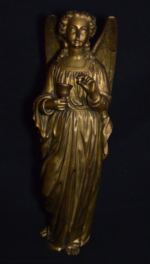 Divine Pair of Gilt D'ore Bronze Angel Statues - 2