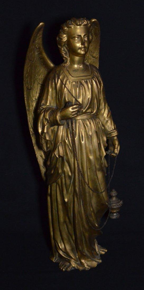 Divine Pair of Gilt D'ore Bronze Angel Statues - 3
