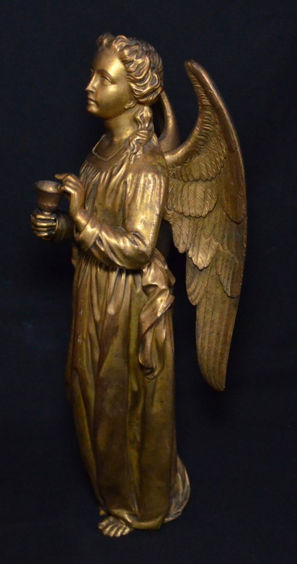 Divine Pair of Gilt D'ore Bronze Angel Statues - 5