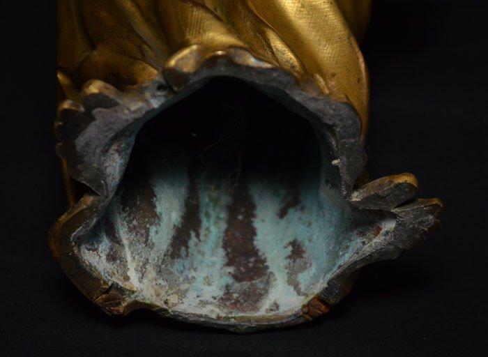 Divine Pair of Gilt D'ore Bronze Angel Statues - 6