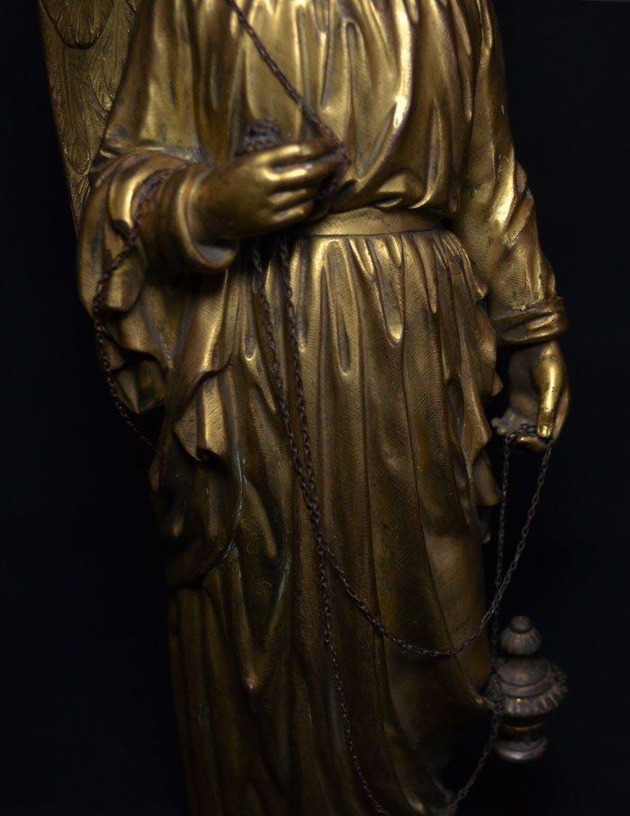 Divine Pair of Gilt D'ore Bronze Angel Statues - 9