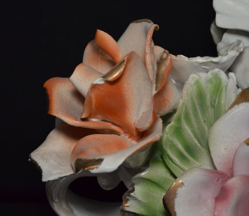 Capodimonte Floral Centerpiece with Turtle Doves - 4