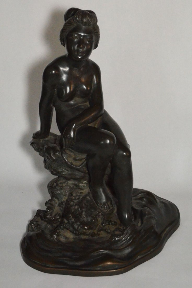 Large Japanese Bronze Nude, Bathing Woman