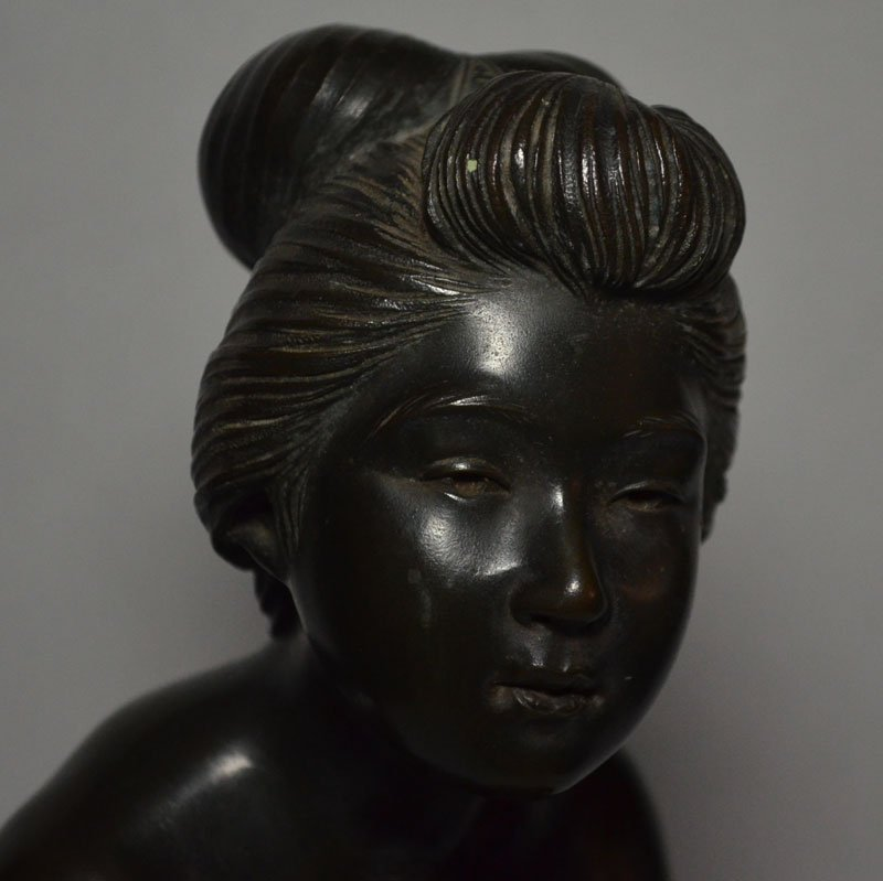 Large Japanese Bronze Nude, Bathing Woman - 2