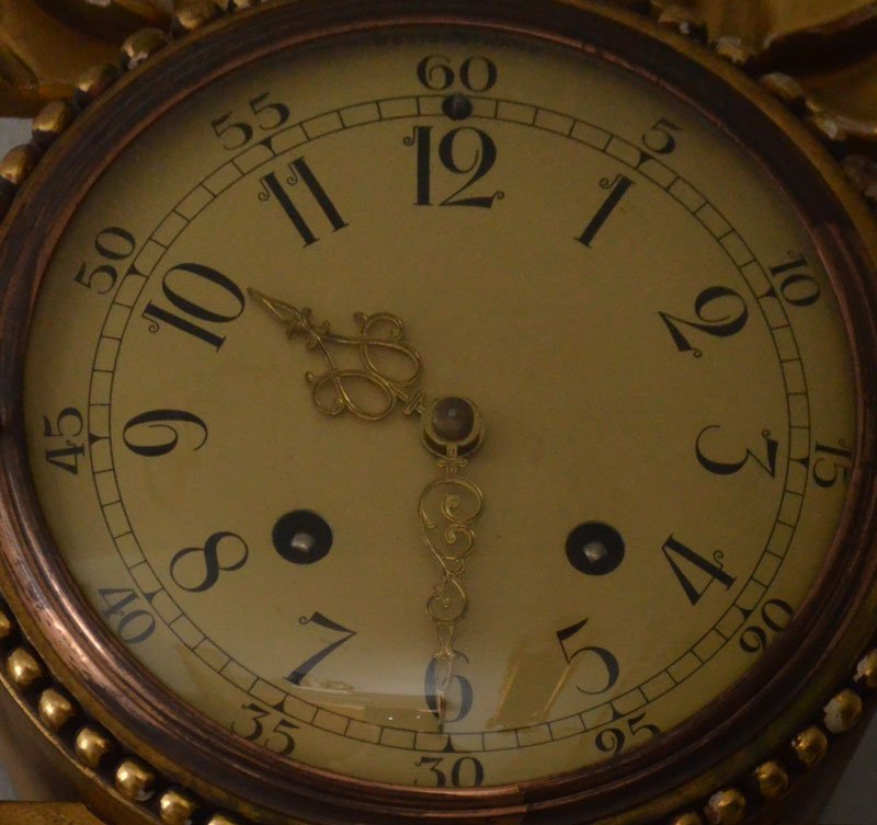 Vintage Ornate Gold Gilt Swedish Westerstrand Clock - 2