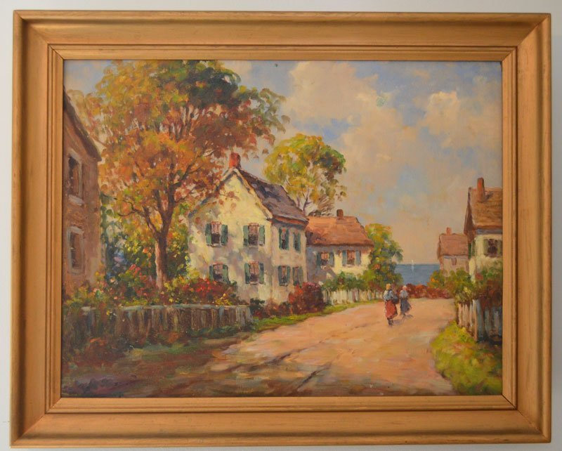 Stunning Impressionist Painting Maine Village by FH